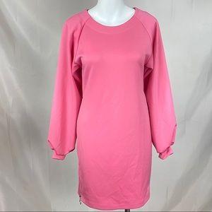 Asos pink 60's style shift mini dress long sleeves